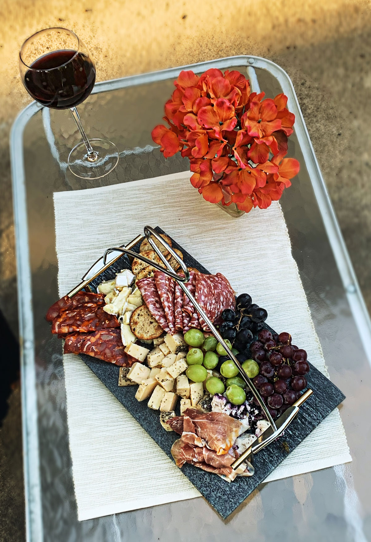 Charcuterie board with COVALEY serving utensil